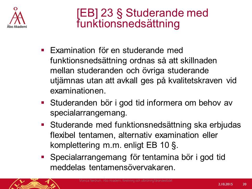 [EB] 23 § Studerande med funktionsnedsättning